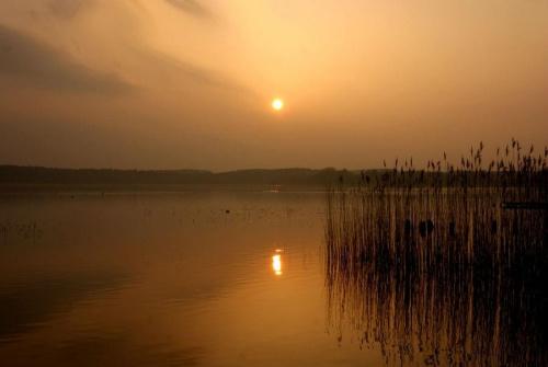 Zachód słońca - trochę zamglony, ale taki był cały dzień #ZachódSłońca #wieczór #jezioro #krajobraz #niebo